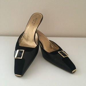 Gucci suede & leather kitten heel mules